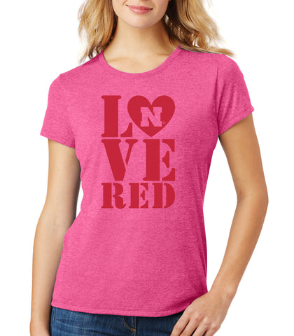 Women's Nebraska Huskers Stacked LOVE N RED Premium Tri-Blend Tee Shirt