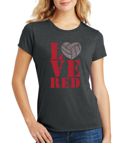 "Women's Stacked ""LOVE RED"" Rhinestone Volleyball Premium Tri-Blend Tee Shirt"
