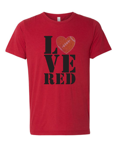 "Women's Stacked ""LOVE RED"" Rhinestone Football Premium Tri-Blend Tee Shirt on Red"