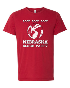 Women's Nebraska Huskers Volleyball ROOF ROOF ROOF Premium Tri-Blend Tee Shirt