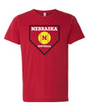 Women's Nebraska Huskers Softball Home Plate Premium Tri-Blend Tee Shirt