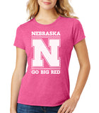 "Women's Nebraska Cornhuskers ""Nebraska N GO BIG RED"" Premium Tri-Blend Tee Shirt"