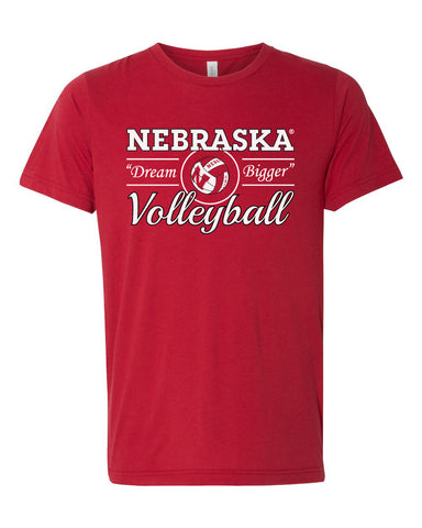 "Women's Nebraska Huskers Volleyball ""Dream Bigger"" Premium Tri-Blend Tee Shirt"