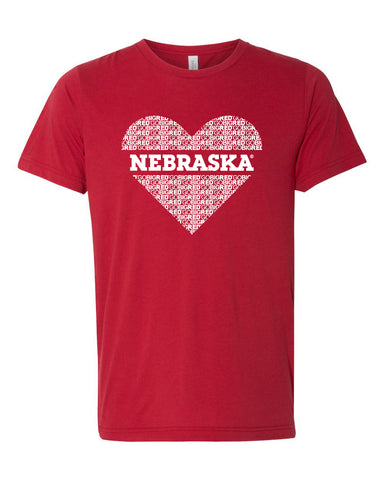 "Women's ""GO BIG RED"" NEBRASKA Heart Premium Tri-Blend Tee Shirt"