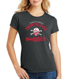 Women's Nebraska Husker Tee Shirt Premium Tri-Blend - Script Blackshirts THROW THE BONES