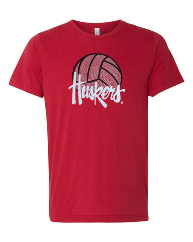 Women's Nebraska Husker Tee Shirt Premium Tri-Blend - Huskers Volleyball With Glitter And Rhinestones