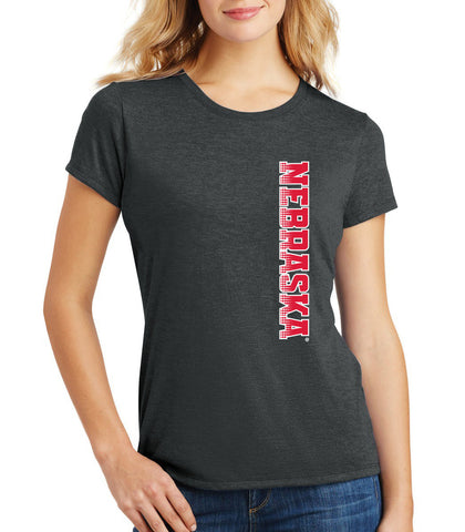 Women's Nebraska Huskers Premium Tri-Blend Tee Shirt - Vertical Nebraska Red & White Fade