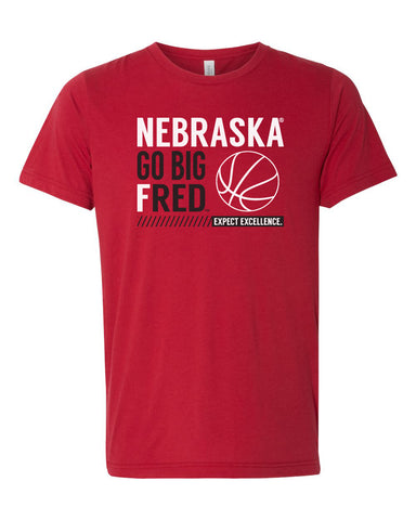 Women's Nebraska Huskers Premium Tri-Blend Tee Shirt - Nebraska Basketball - GO BIG FRED