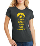 Iowa Women's Premium Tri-Blend Tee Shirt - Keep Calm and Go Hawks