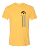 Women's Iowa Hawkeyes Premium Tri-Blend Tee Shirt - IOWA Hawkeyes Vertical Stripe with Tigerhawk