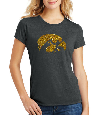 Women's Iowa Hawkeyes Premium Tri-Blend Tee Shirt - Tigerhawk Logo in Gold Glitter