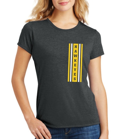 Women's Iowa Hawkeyes Premium Tri-Blend Tee Shirt - Vertical Stripe with HAWKEYES