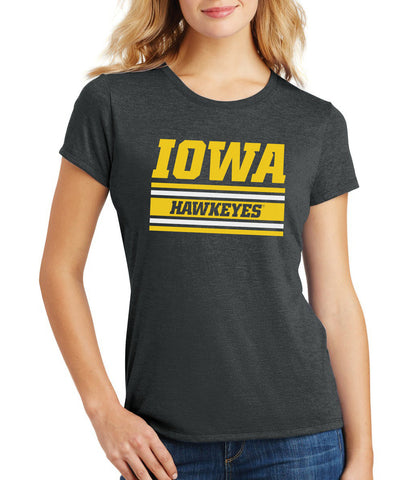 Women's Iowa Hawkeyes Premium Tri-Blend Tee Shirt - Horizontal Stripe Italic Iowa HAWKEYES