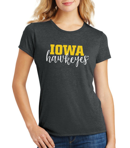 Women's Iowa Hawkeyes Premium Tri-Blend Tee Shirt - Iowa Script Hawkeyes
