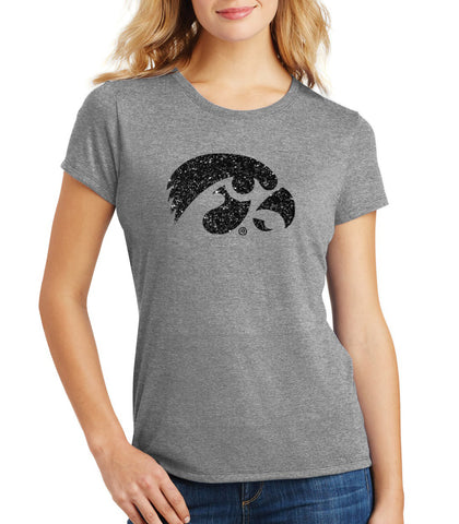 Women's Iowa Hawkeyes Premium Tri-Blend Tee Shirt - Tigerhawk Logo in Black Glitter