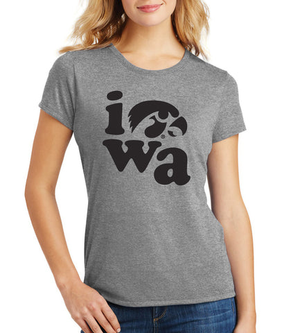 Women's Iowa Hawkeyes Premium Tri-Blend Tee Shirt - Iowa Stacked