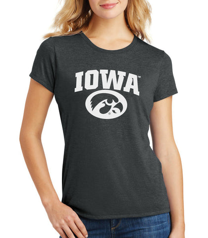 Women's Iowa Hawkeyes Premium Tri-Blend Tee Shirt - Arched IOWA with Tigerhawk Oval
