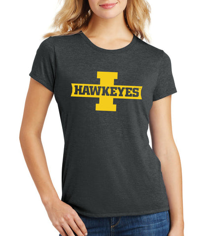 Women's Iowa Hawkeyes Premium Tri-Blend Tee Shirt - Block I with HAWKEYES