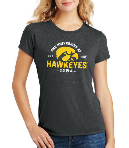 Women's Iowa Hawkeyes Premium Tri-Blend Tee Shirt - The University of Iowa Hawkeyes EST 1847