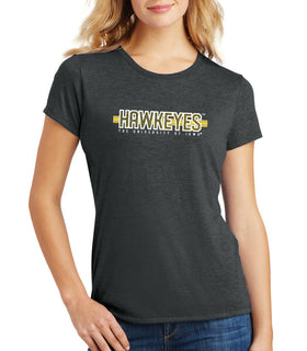 Women's Iowa Hawkeyes Premium Tri-Blend Tee Shirt - Hawkeyes Horizontal Stripe