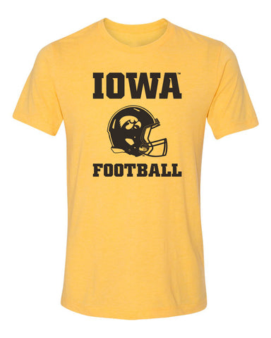 Women's Iowa Hawkeyes Premium Tri-Blend Tee Shirt - Iowa Football Helmet on Gold