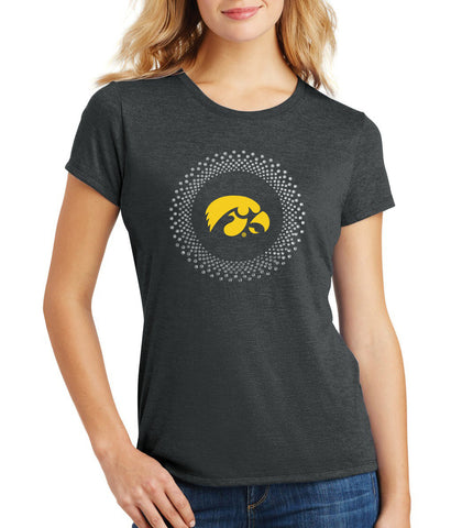 Women's Iowa Hawkeyes Premium Tri-Blend Tee Shirt - Circle Burst Rhinestones with Tigerhawk