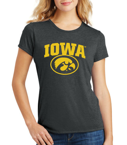 Women's Iowa Hawkeyes Premium Tri-Blend Tee Shirt - IOWA Oval Tigerhawk on Black