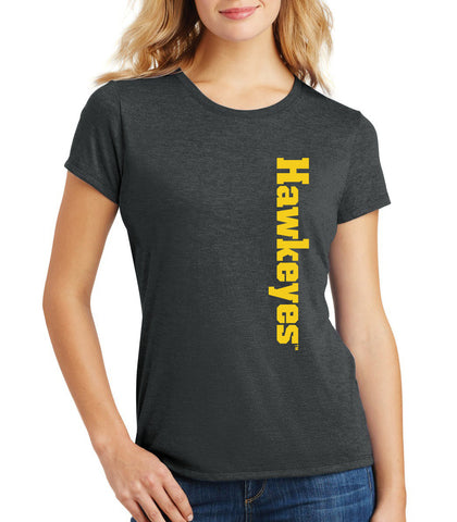 Women's Iowa Hawkeyes Premium Tri-Blend Tee Shirt - Vertical Offset Hawkeyes