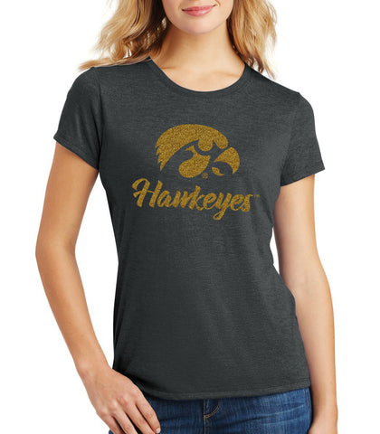 Women's Iowa Hawkeyes Premium Tri-Blend Tee Shirt - Tigerhawk and Script Hawkeyes in Gold Glitter