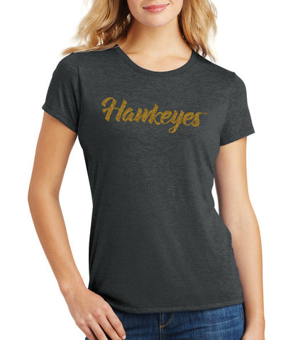Women's Iowa Hawkeyes Premium Tri-Blend Tee Shirt - Script Hawkeyes in Gold Glitter