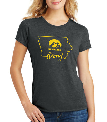 Women's Iowa Hawkeyes Premium Tri-Blend Tee Shirt - Hawkeyes Strong State Outline