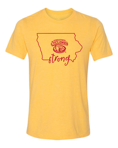 Women's Iowa State Cyclones Premium Tri-Blend Tee Shirt - Cyclones Strong State Outline