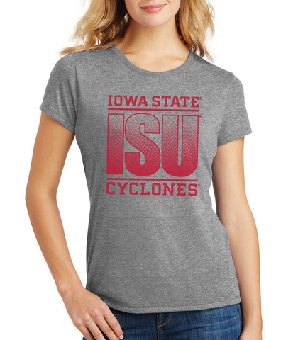 Women's Iowa State Cyclones Premium Tri-Blend Tee Shirt - ISU Fade Red on Gray
