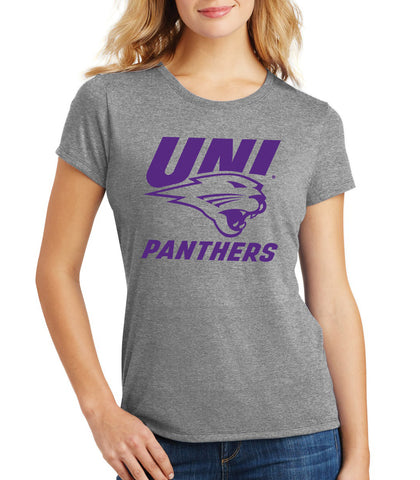 Women's Northern Iowa Panthers Premium Tri-Blend Tee Shirt - Purple UNI Panthers Logo on Gray