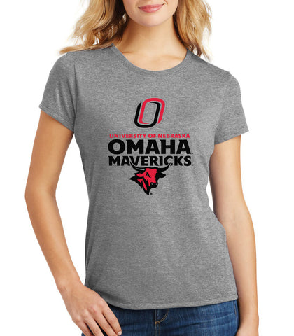 Women's Omaha Mavericks Premium Tri-Blend Tee Shirt - Omaha Mavericks with Bull and Primary Logo on Gray