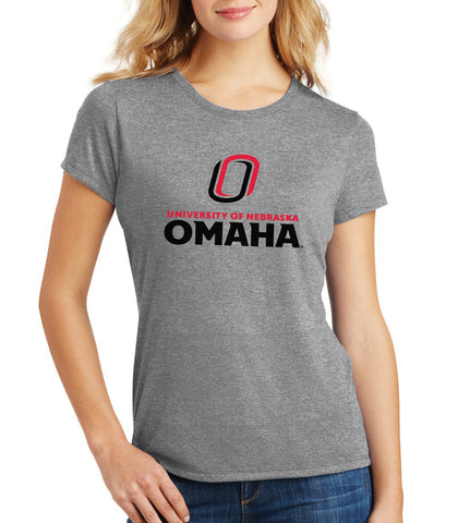 Women's Omaha Mavericks Premium Tri-Blend Tee Shirt - University of Nebraska Omaha with Primary Logo on Gray