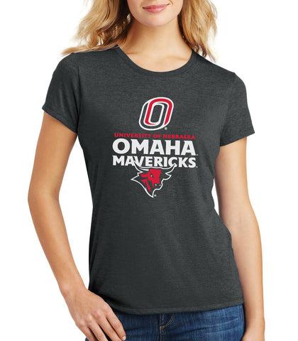 Women's Omaha Mavericks Premium Tri-Blend Tee Shirt - Omaha Mavericks with Bull and Primary Logo on Black