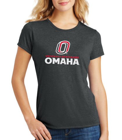 Women's Omaha Mavericks Premium Tri-Blend Tee Shirt - University of Nebraska Omaha with Primary Logo on Black