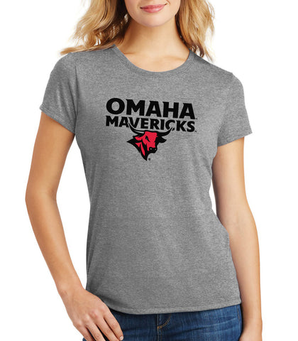Women's Omaha Mavericks Premium Tri-Blend Tee Shirt - Omaha Mavericks with Bull on Gray
