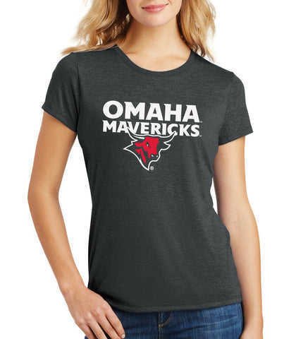 Women's Omaha Mavericks Premium Tri-Blend Tee Shirt - Omaha Mavericks with Bull on Black