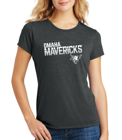 Women's Omaha Mavericks Premium Tri-Blend Tee Shirt - Mavericks Stripe Fade