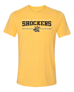 Women's Wichita State Shockers Premium Tri-Blend Tee Shirt - Wichita State Shockers 3 Stripe