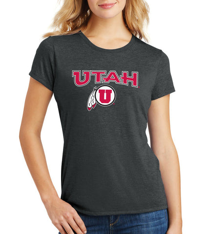 Women's Utah Utes Premium Tri-Blend Tee Shirt - Circle & Feather Logo