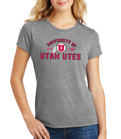 Women's Utah Utes Premium Tri-Blend Tee Shirt - U of U Arch with Circle Feather Logo