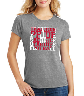Women's Utah Utes Premium Tri-Blend Tee Shirt - Utah Utes Football Tradition