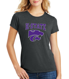 Women's K-State Wildcats Premium Tri-Blend Tee Shirt - K-State Powercat with Outline