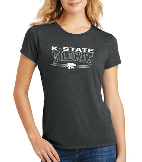 Women's K-State Wildcats Premium Tri-Blend Tee Shirt - Wildcats with 3-Stripe Powercat