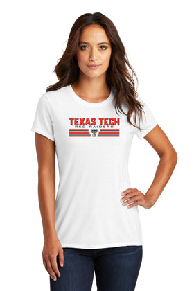 Women's Texas Tech Red Raiders Premium Tri-Blend Tee Shirt - Double T Horiz Stripe