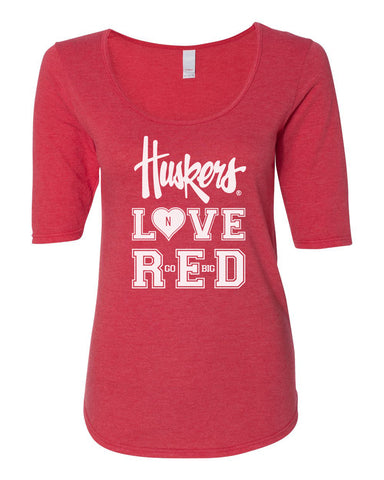 "Women's Nebraska ""Huskers LOVE RED"" 1/2 Sleeve Scoop Neck Tri-Blend Premium Top"