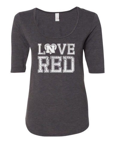 "Women's Nebraska Cornhuskers Hero ""LOVE RED"" 1/2 Sleeve Scoop Neck Tri-Blend Premium Top"